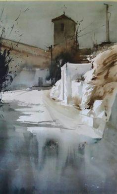 Manolo Jiménez Watercolor Artists, Watercolor Techniques, Watercolor Paintings, Watercolours, Watercolor Architecture, Watercolor Landscape, Paintings I Love, Beautiful Paintings, Landscape Drawings