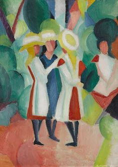 As a member of the German Der Blaue Reiter movement, August Macke first  encountered the work of French painter Robert Delaunay in 1911. He was  deeply impre...
