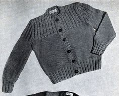 Cardigan with Baby Cable Yoke knit pattern from Boys and Girls, originally published by Fashions in Wool, Volume N Boys sweater originally published in Baby Knitting Patterns, Baby Patterns, Free Knitting, Herringbone Stitch Knitting, Baby Cocoon Pattern, Boys Sweaters, Knit Sweaters, Baby Pants, Cardigan Pattern