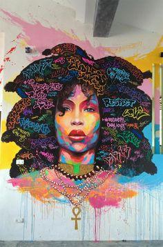 "hip hop fights back: "" Beautiful Erykah Badu graffiti art"""