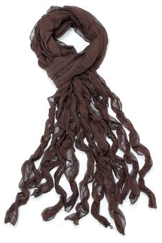 Designed by Luca Bianca in Milan Italy. 100% silk hand cut and hand stitched fringes gives this scarf a unique and classy look. Can be worn with your favorite jeans and a t-shirt or as a headband or around your waist. Also perfect addition to your beach wear/sarong.   Octopus Curly Scarf by Violet Del Mar. Accessories - Scarves & Wraps San Diego, California