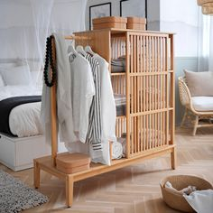 Most current Cost-Free NORDKISA Open wardrobe with sliding door - bamboo - IKEA Tips You understand traditional clothes hangers, that you simply will definitely have to hold in your clo Open Wardrobe, Sliding Wardrobe Doors, Sliding Doors, Ikea Bedroom, Bedroom Furniture, Furniture Design, Bedroom Decor, Muji Furniture, Small Shelves