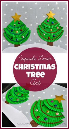 Make a Christmas Tree Craft using green cupcake liners. Kids will love creating such beautiful artwork for Christmas. | from I Heart Crafty Things