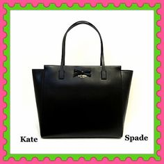 """♠️Authentic Kate Spade Black Leather Handbag♠️ % AUTHENTIC ✨ Beautiful black leather large handbag from Kate Spade  Lightweight & very spacious. Length 18"""" Height 11 1/2"""" Width 6"""" approximate Strap drop 9"""" 3 pockets inside  Yellow gold tone hardware  Zipper top closure. Beautiful exterior front bow GORGEOUS  NO TRADE kate spade Bags Totes"""