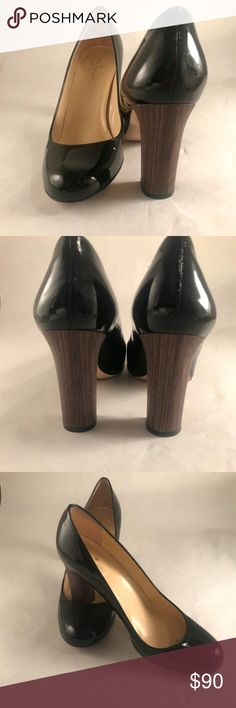 Patent Leather Kate Spade Heel W Foe Wood Heel Classy black patent leather Kate Spade heels with a statement heel. It looks like foe wood! Such gorgeous shoes. kate spade Shoes Heels