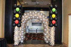 Traffic Light Balloon Arch Car Themed Bar Mitzvah with Traffic Light Balloon Arch Entryway at The Heldrich Hotel