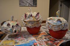 Paper mache pumpkins in progress