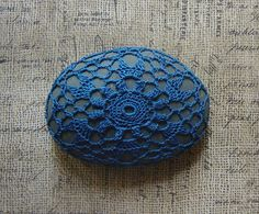 Crocheted Lace Stone Bright Blue Thread on Gray Oval by Monicaj, $42.00