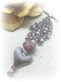 ** Interchangeable Puffed Heart & Handmade Glass Beaded Dangle Necklace #1004D @beaddangledesign