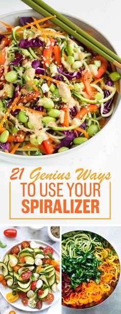 Delicious Veggie Noodles To Make With Your Spiralizer And once you've got it, here are 21 cool recipes to in-spira-lize you. LOL, sorry.And once you've got it, here are 21 cool recipes to in-spira-lize you. LOL, sorry. Zoodle Recipes, Vegetarian Recipes, Cooking Recipes, Healthy Recipes, Delicious Recipes, Spiralized Veggie Recipes, Recipies, Recipes With Veggie Noodles, Spiralizer Recipes Vegetarian