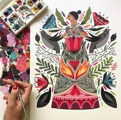 Lovely new piece in the making by illustrator @maya_hanisch #mayahnisch #illustration
