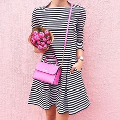 Cutest striped dress for spring with a cute pink handbag! LivvyLand x Kate Spade # Casual Outfits simple kate spade Preppy Mode, Preppy Style, Spring Summer Fashion, Spring Outfits, Striped Dress, Dress To Impress, Womens Fashion, Fashion Trends, Fashion Fashion