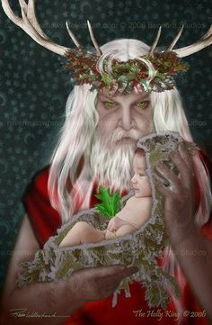 Wyldestone Cottage: Winter Solstice - Yule - Christmas - The Holly King and The Oak King Pagan Yule, Pagan Art, Samhain, Holly King, Sabbats, Summer Solstice, Kwanzaa, Green Man, Gods And Goddesses