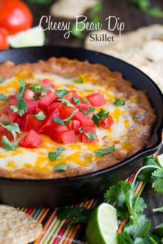 Cheesy Homemade Bean Dip Skillet perfect for your next party. Easy and delicious appetizer with a Tex Mex | by Penney Lane  Kitchen.com