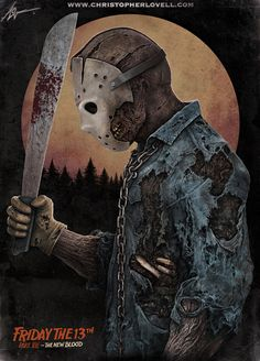 Here is my latest Jason Voorhees piece! This is my favourite incarnation of Jason from the movie 'Friday the 13th pt 7'. Hope you dig it! Signed prints coming very soon x  Join me on Face...