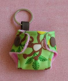 Cloth Diaper Keychain monkeying around Diy Diapers, Cloth Diapers, Modern Cloth Nappies, Crafts To Do, Cute Gifts, Coin Purse, Wings, Diapering, Homemade