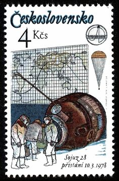 Stamp: Soyuz crew after landing and trajectory map (Czechoslovakia) (Interkosmos) Mi:CS 2363 Rare Stamps, Space Travel, Space Exploration, Postage Stamps, Vintage World Maps, Baseball Cards, Retro, European Countries, Czech Republic