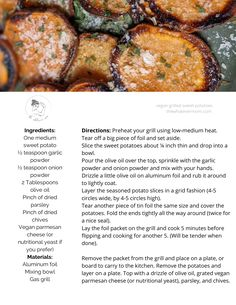 Grill sweet potatoes for a great BBQ side dish! Grilled Sweet Potatoes, Sweet Potato Slices, Side Dishes For Bbq, Vegan Grilling, Picky Eaters, Meals For The Week, Meal Planning, Diet, Drinks