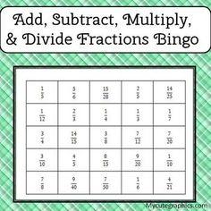 Fraction Bingo Class Set: Adding and Subtracting Fractions Unlike ...