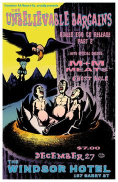 the Unbelievable Bargain's poster Music Posters, Art Posters, Windsor Hotel, Rock Art, Comic Books, Comics, Cave Painting, Stone Art, Comic Book
