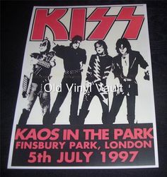 Kiss Finsbury Park,London 1997 concert poster repro   eBay