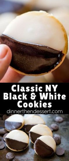 Black and White Cookies make the perfect addition to your holiday cookie plate and you don't have to travel to New York to get the authentic flavors and those two delicious signature vanilla and choco(Chocolate Glaze) Köstliche Desserts, Delicious Desserts, Dessert Recipes, Yummy Food, Easy Cookie Recipes, Baking Recipes, Cookie Glaze, Galletas Cookies, Italian Cookies