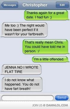 Smartphone auto-corrects and funny texts