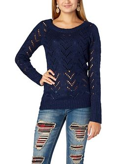 image of Sparkle Pointelle Sweater