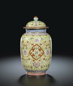 YELLOW-GROUND FAMILLE-ROSE JAR AND COVER SEAL MARK AND PERIOD OF JIAQING Glass Ceramic, Ceramic Art, National Palace Museum, Pink Lotus, Chinese Ceramics, Ginger Jars, Fine Porcelain, Antique Items, Chinese Art