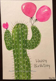Cactus birthday watercolor card