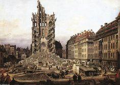 """""""Les ruines de la vieille Kreuzkirche à Dresde (2)"""" Bernardo Bellotto - huile sur toile - 1765 - (Gemäldegalerie (Dresden, Germany)) #dresden #BernardoBellotto #tableau"""