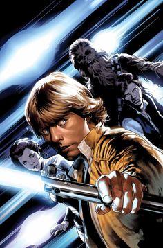 Star Wars #12 - Luke Skywalker, Princess Leia, Han Solo, and Chewbecca by Stuart Immonen *