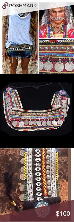 Vintage Kuchi Coin Belt Of the Ghilji Tribe, 1970s Kuchi or Kochi means migration, relating to gypsies or nomads. It does not define any particular tribe but a state of being. All the beads, mirrors & metallic embellishments are designed toward off evil spirits.  This piece is from a mission trip to the Pakistan region where the Ghilji tribe trade their goods. It is extremely hard for me to let go of this!! So price has little wiggle room Accessories