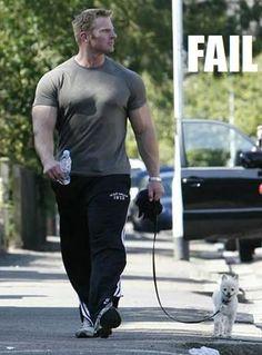 real men walk little dogs.......lol