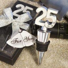 25th Anniversary Wine Bottle Stopper Favors at WeddingFavors.org