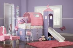 Kids Room: Kids Room Stunning Kids Play Room Design Purple Wall Decor Glowing Wooden Laminate Floor Pink Purple Bunk Bed Cute Powell Princess Castle With Slide Pink Fur Rugs Pink Chair And Table: Comely  Kids Bedroom Decoration In Sweet Design And Contemporary Princess Castle Furnitures Idea