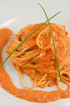 Pasta with Creamy Red Roasted Pepper Sauce Recipe