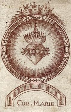 Cor. Marie. A 19th century engraving of the Sacred Heart of Mary.