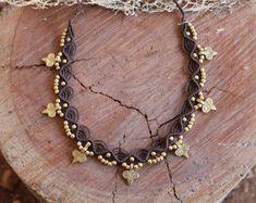 Collar de Macrame mágica con granos de cobre amarillo, joyería hippie Tribal, tribal macrame collar, gargantilla, elige tu color, regalo para ella