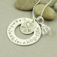 Custom Family Necklace Hand Stamped Sterling by BaWStampedDesigns, $52.00