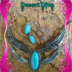 2Tiered Feather Necklace Set Coppertone Necklace and Earring set , faux turquoise, and crystal accent . Western, Cowgirl, Southwest, Boho Boutique Jewelry Necklaces