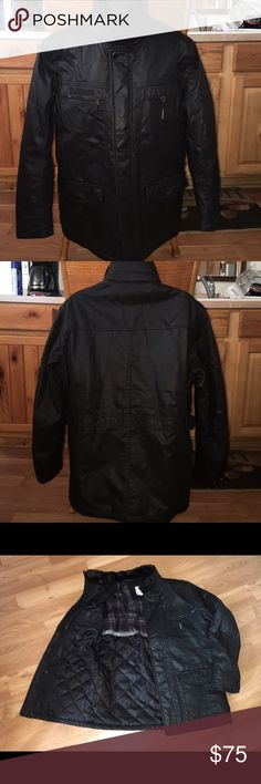 """Pizazzboy men's jacket black size L/48GUC Very good used condition men's jacket in black color, it is lined and insulated,2 inside chest pockets,2 outside chest pockets and 2 front pockets, removable faux leather neck warmer.Zipper and snap closure.Shoulder to shoulder:17"""",pit to pit:23"""",sleeves:23""""Lenght:32"""". Jacket is in great used condition. Pizazzboy Jackets & Coats Lightweight & Shirt Jackets"""
