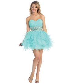 2013 Prom Dresses -Aqua Chiffon Short Prom Dress #uniquevintage