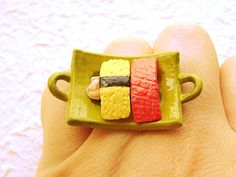 Egg and Tuna Fish Sushi Miniature Food Ring by SouZouCreations, $10.00
