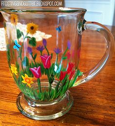 Hand-painted flower mug I need this!