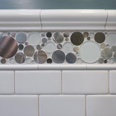 Jazz up classic white subway tile with an accent tile, like the steel-and-glass bubble choice in this kid's bathroom. Ikea Bathroom Sinks, Bathroom Kids, Bathroom Flooring, Bathroom Interior, Small Bathroom, Bathroom Curtains, White Bathroom, New Bathroom Designs, Traditional Bathroom