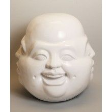 Four Moods Happy Buddha Statue, White, 12 Inches