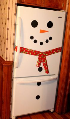 Snowman Fridge! Sucha  cute and simple holiday party decoration you could do yourself, or have the kids do!