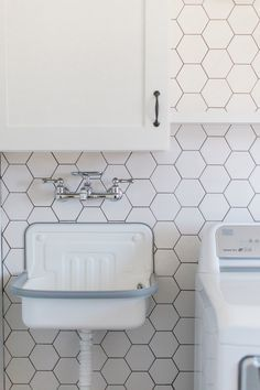 Hexagon Tile Laundry Room Floor