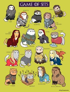 """The """"Game of Sits"""" is funny fan art or parody art inspired by Game of Thrones, featuring cats! Game Of Thrones Cat, Dessin Game Of Thrones, Tyrion And Sansa, Arya, Game Of Throne Lustig, Game Of Thrones Instagram, Game Of Trones, My Champion, Cute Office"""